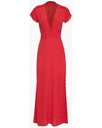Flynn Skye Valentina Short Sleeve Maxi Dress - Red Cherry Dots Print