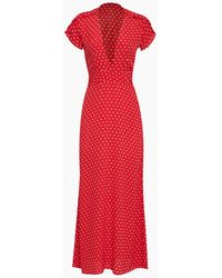 Flynn Skye Valentina Short Sleeve Maxi Dress - Red Cherry Polka Dot Print