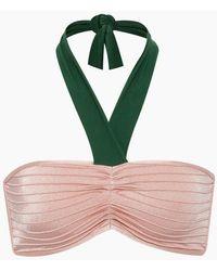 Adriana Degreas Bicolor Halter Neck Bikini Top - Light Pink/green