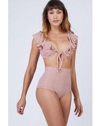 Suboo Ruffle Front Tie Bikini Top - Pink