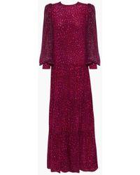 Adriana Degreas Silk Crepe De Chine Voluminous Sleeves Long Dress - Pink
