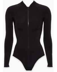 Jets by Jessika Allen Mesh Zipper Front Rashguard Bodysuit - Black