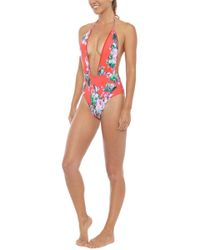 Montce Swim Private Beach Plunging V One Piece Swimsuit - Red