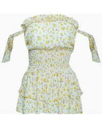Blue Life Ballerina Off The Shoulder Romper - Oopsie Daisy-mellow Yellow Print