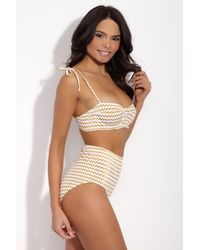 Lonely - Doris Shoulder Tie Sweetheart Underwire Bikini Top - Gold Zigzag - Lyst