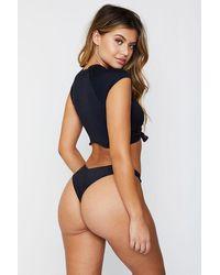 Frankie's Bikinis Max High Cut Thong Bikini Bottom - Black