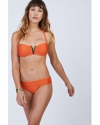 Heidi Klein Ribbed V Bar Padded Bandeau Bikini Top - Orange
