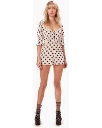 For Love & Lemons Lexington Ruffle Puff Sleeves Romper - White & Black Polka Dot Print