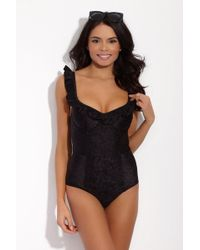 Lonely - Greta Jacquard Sweetheart One Piece Swimsuit - Black Rose - Lyst