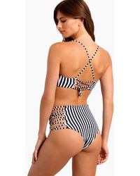 L*Space - Tripp Strappy High Waist Bikini Bottom - Domino Stripe - Lyst