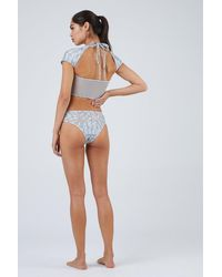 Lee + Lani Desert Midnight Mesh Short Sleeve Bikini Top - Grey