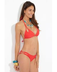Luli Fama - Zig Zag Reversible Knotted Cut Out Triangle Bikini Top - Girl On Fire Red/ Gold - Lyst