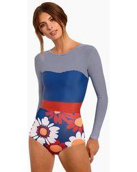 Seea Hermosa Colour Block Sweetheart Rashguard Bodysuit - Blue Stripe Print/royal Blue/marguerite Floral Print