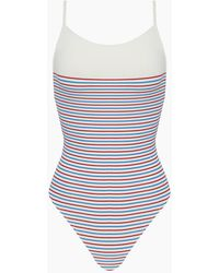 Solid & Striped The Chelsea Colour Block High Cut One Piece Swimsuit - Blue