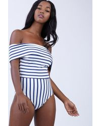 bf085b2a524 Solid & Striped - The Vera Off Shoulder One Piece Swimsuit - Navy Breton  Stripe Print