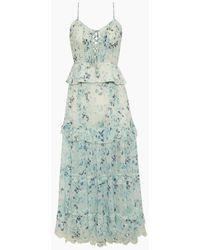 Hemant & Nandita Crinkle Chiffon Ruffle Long Dress - Blue