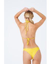 Luli Fama Strappy Ruched Brazilian Bikini Bottom - Yellow