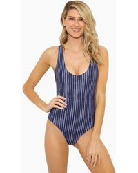 Aila Blue - Bae Scoop Criss Cross Back One Piece Swimsuit - Shibori Blue Stripe Print - Lyst