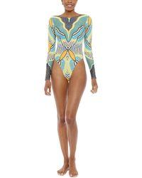 Andrea Iyamah Khai Long Sleeve High Cut One Piece Swimsuit - Yellow