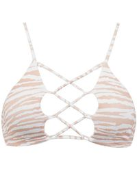 Indah - Hapa Lace Up Front Bikini Top - White Tiger Print - Lyst