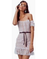 For Love & Lemons Dakota Off Shoulder Lace Mini Dress - White