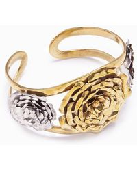 Lena Bernard 3 Roses Gold Cuff Bracelet - Metallic