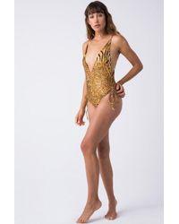 Indah Playground Cinched Tie Side One Piece Swimsuit - Safari Gold Animal Print - Metallic