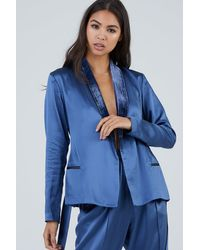Fleur du Mal Silk Velvet Trim Smoking Jacket - Blue
