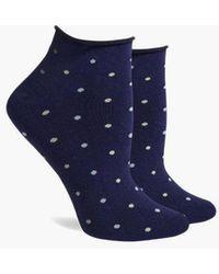 Richer Poorer Rose Low Top Roll Socks - Blue