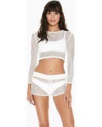 L*Space Sarah Mesh Long Sleeve Crop Top - White