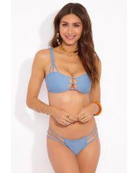 Mia Marcelle Reina Strappy Bra Bikini Top - Sea - Blue