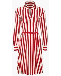 Norma Kamali Shirt Collared Midi Dress - Tango Red 3/4 Stripe Print