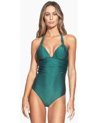 ViX Bia Tube Halter Full One Piece Swimsuit - Jasper Green