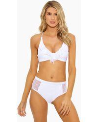 Ella Moss Sheer Dot Ruffle Lace Up Back Bralette Bikini Top - White