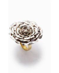 Lena Bernard Large Rose Statement Ring - Metallic