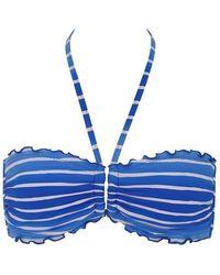 Seafolly Miami Stripe Bandeau Halter Bikini Top - Blue
