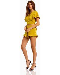 Motel Jiro High Waist Mini Shorts - Yellow