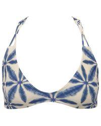 Stone Fox Loni Sporty T Back Bikini Top - Ocean Blue Batik Print