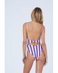 Aila Blue Frankie Front Tie Cut Out One Piece Swimsuit - Blue