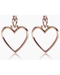 Luv Aj - Heartbreaker Dangle Hoop Earrings (set Of 4) - Rose Gold - Lyst