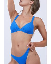 Vitamin A Neutra Ribbed Bralette Bikini Top - Blue