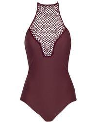 Acacia Swimwear Teahupo'o Crochet High Neck One Piece Swimsuit - Merlot Red