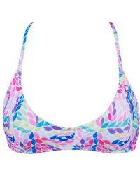 Kovey Printed Swell Criss Cross Bikini Top - Mimosa Petals - Purple