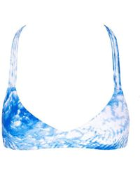 Mikoh Swimwear Uluwatu T-back Bralette Bikini Top - Blue