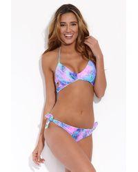Luli Fama Laura Reversible Halter Wrap Bikini Top - Blue