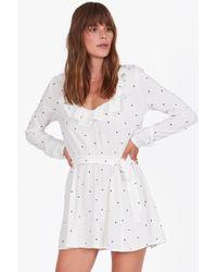 Amuse Society Last Hurrah Ruffle Long Sleeve Mini Dress - White