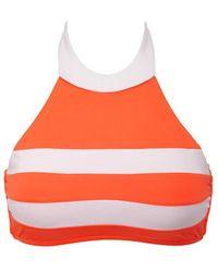 Seafolly Block Party High Neck Bi-color Bikini Top - Orange