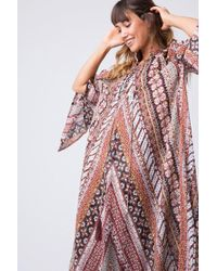 Indah Campfire Tunic Maxi Dress - Festival Geometric Print - Multicolour