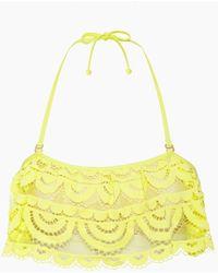 Pilyq Flutter Lace Bandeau Bikini Top - Yellow