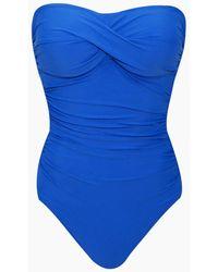Helen Jon Twist Bandeau One Piece Swimsuit - Blue